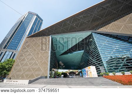 Chengdu, Sichuan Province, China - July 2, 2020: Chengdu Museum Bulding Facade Against Blue Sky Near