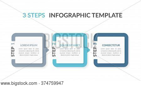 Infographic Template With Three Elements With Numbers And Place For Your Text, Workflow, Process Cha