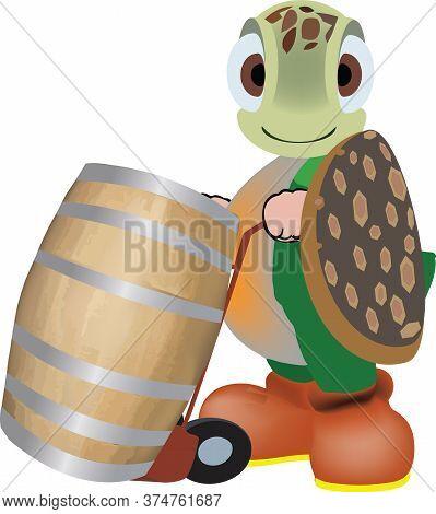 Comic Turtle Human-like Wine Producer In The Cellar