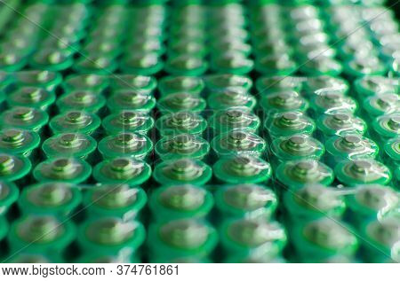 Reen Batteries, Alkaline Battery Aa Size Format. Energy Abstract Background, Panoramic View