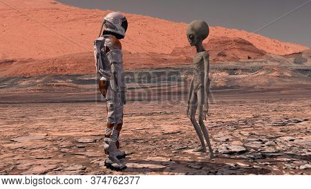 Astronaut Meets A Martian On Mars. First Contact. Alien On Mars. Exploring Mission To Mars. Coloniza