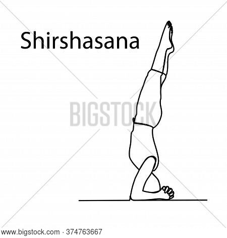 Doodle Yoga Pose In Vector. Drawn Yoga Pose Stand On The Head Of Shirshasana In Vector. Line Art