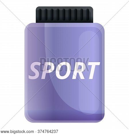 Sport Nutrition Jar Icon. Cartoon Of Sport Nutrition Jar Vector Icon For Web Design Isolated On Whit