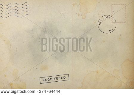 Backside Of Old Postcard With Dirty Stain