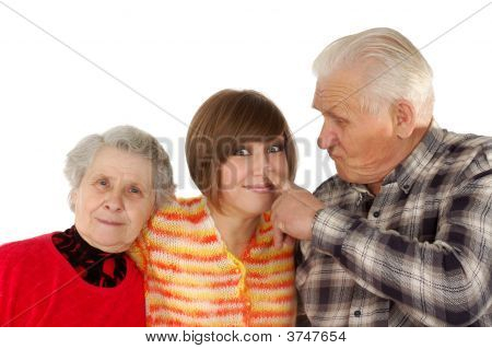 Happy Grandparents And Granddaughter