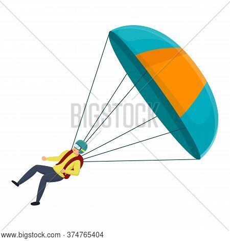 Parachuter Fall Icon. Cartoon Of Parachuter Fall Vector Icon For Web Design Isolated On White Backgr