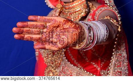 Mehndi Art In The Female Hand Image