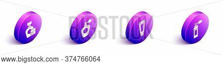 Set Isometric Cream Or Lotion Cosmetic Tube, Perfume, Cream Or Lotion Cosmetic Tube And Perfume Icon