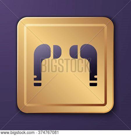 Purple Air Headphones Icon Icon Isolated On Purple Background. Holder Wireless In Case Earphones Gar