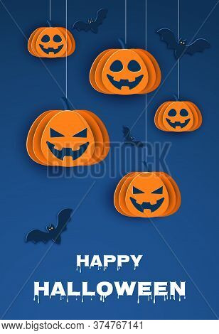 Halloween classic blue background with pumpkins and bats in paper style, 3D. Vertical view. Happy Halloween Halloween classic blue background with pumpkins and bats in paper style, 3D. Happy Halloween banner or party invitation background with clouds