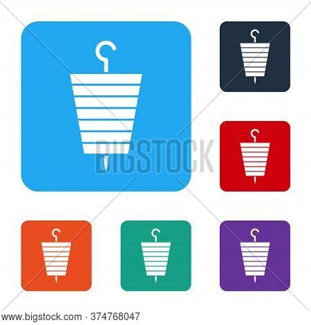 White Grilled Shish Kebab On Skewer Stick Icon Isolated On White Background. Meat Kebab On Skewer St