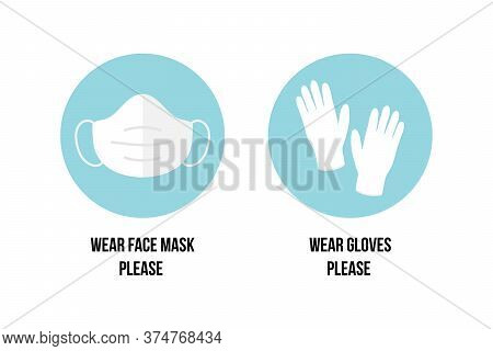 Vector Stickers, Icons With Asking To Wear Face Masks And Gloves In Public Places. Airborne Diseases