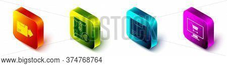 Set Isometric Carton Cardboard Box, Envelope With Euro Symbol, Carton Cardboard Box And Shopping Car