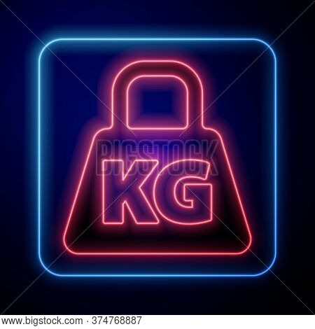 Glowing Neon Weight Icon Isolated On Blue Background. Kilogram Weight Block For Weight Lifting And S