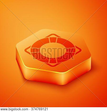 Isometric Lifebuoy Icon Isolated On Orange Background. Lifebelt Symbol. Orange Hexagon Button. Vecto