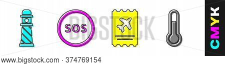 Set Lighthouse, Location With Sos, Airline Ticket And Meteorology Thermometer Icon. Vector