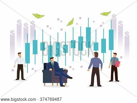 Businessmen With Candlestick Chart Of The Stock Market. Concept Of Stock Investment Or Corporate Ear