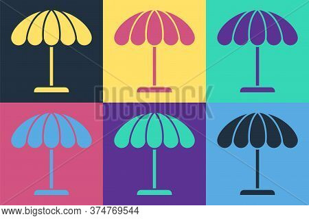 Pop Art Sun Protective Umbrella For Beach Icon Isolated On Color Background. Large Parasol For Outdo