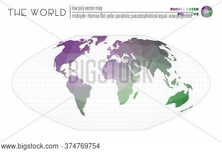 Low Poly World Map. Mcbryde-thomas Flat-polar Parabolic Pseudocylindrical Equal-area Projection Of T