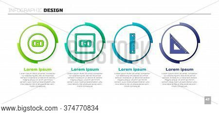 Set Electrical Outlet, Electrical Outlet, Ruler And Triangular Ruler. Business Infographic Template.