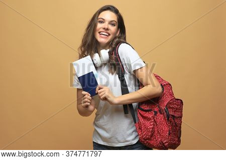 Smiling Student Girl Going On A Travel Isolated On Beige Background.