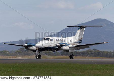 Avalon, Australia - February 26, 2015: Beech B200 Super King Air Twin Engine Turboprop Aircraft On T