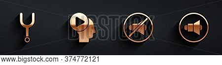Set Musical Tuning Fork, Head People With Play Button, Speaker Mute And Speaker Volume Icon With Lon