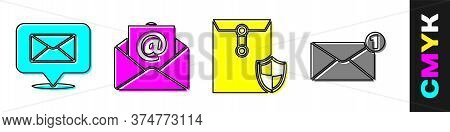 Set Speech Bubble With Envelope, Mail And E-mail, Envelope With Shield And Envelope Icon. Vector