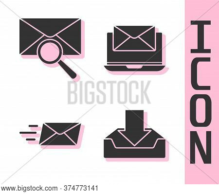 Set Download Inbox, Envelope With Magnifying Glass, Express Envelope And Laptop With Envelope Icon.