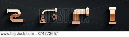 Set Industry Metallic Pipe, Water Tap, Industry Metallic Pipe And Industry Metallic Pipe Icon With L