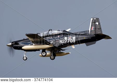 Avalon, Australia - February 22, 2015: Beechcraft T-6c Texan Ii Single Engine Military Training Airc