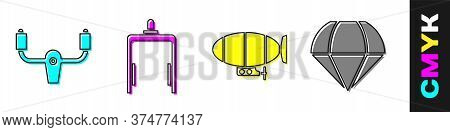 Set Aircraft Steering Helm, Metal Detector In Airport, Airship And Parachute Icon. Vector
