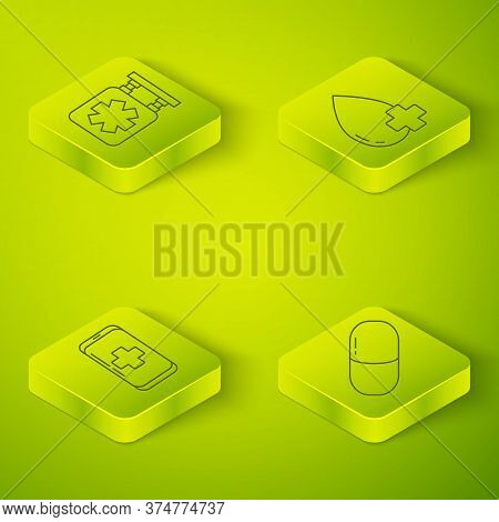 Set Isometric Donate Drop Blood With Cross, Emergency Mobile Phone Call To Hospital, Medicine Pill O