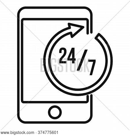 24 Hours Service Center Icon. Outline 24 Hours Service Center Vector Icon For Web Design Isolated On