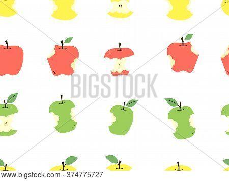 Apple Core. Bitten Apple. Positive Summer Print. Modern Vector Seamless Pattern In Flat Cartoon Styl