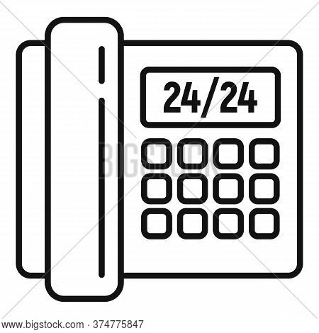 Call Any Hour Center Icon. Outline Call Any Hour Center Vector Icon For Web Design Isolated On White