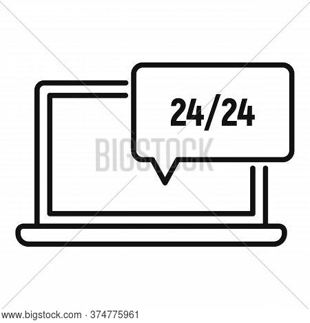 24 Hour Service Support Icon. Outline Laptop, 24 Hour Service Support Vector Icon For Web Design Iso