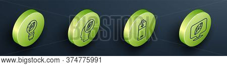 Set Isometric Light Bulb With Leaf, Human Head With Leaf Inside, Battery And Location With Leaf Icon