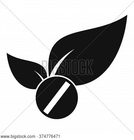 Medicinal Herbs Pill Icon. Simple Illustration Of Medicinal Herbs Pill Vector Icon For Web Design Is