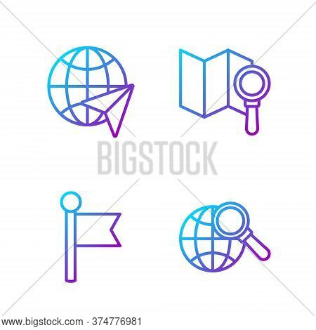 Set Line Magnifying Glass With Globe, Location Marker, Globe With Flying Plane And Search Location.