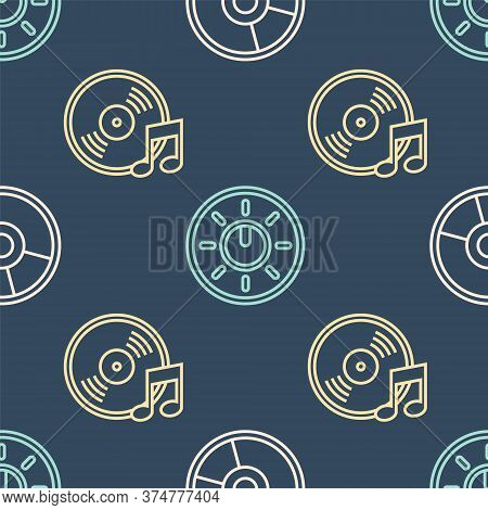 Set Line Cd Or Dvd Disk, Vinyl Disk And Dial Knob Level Technology Settings On Seamless Pattern. Vec