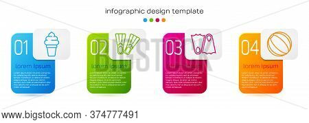 Set Line Ice Cream In Waffle Cone, Rubber Flippers, Rubber Flippers And Beach Ball. Business Infogra