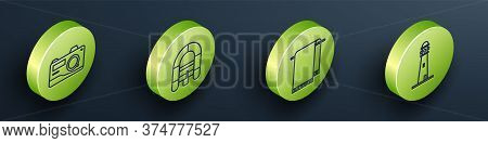 Set Isometric Photo Camera, Rafting Boat, Towel On A Hanger And Lighthouse Icon. Vector
