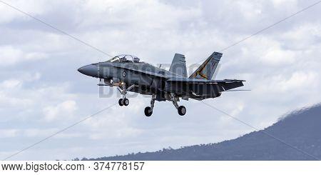 Avalon, Australia - March 1, 2015: Royal Australian Air Force (raaf) Mcdonnell Douglas F/a-18b Horne