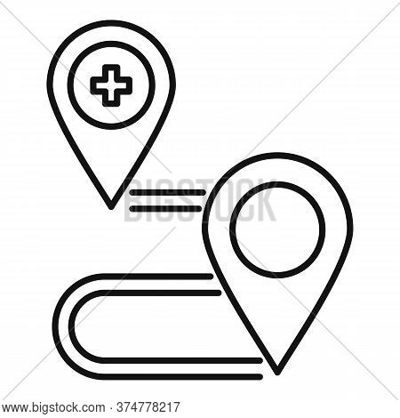 Private Clinic Route Map Icon. Outline Private Clinic Route Map Vector Icon For Web Design Isolated