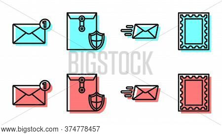 Set Line Express Envelope, Envelope, Envelope With Shield And Postal Stamp Icon. Vector