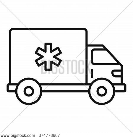 Clinic Ambulance Car Icon. Outline Clinic Ambulance Car Vector Icon For Web Design Isolated On White