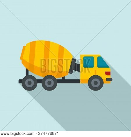 Cement Mixer Truck Icon. Flat Illustration Of Cement Mixer Truck Vector Icon For Web Design