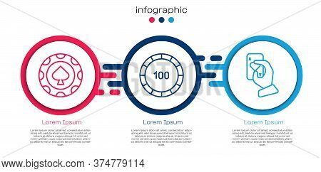 Set Line Casino Chips, Casino Chips And Hand Holding Playing Cards. Business Infographic Template. V