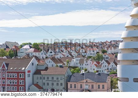 Aerial View Of Stavanger In Norway. One Of The Most Beautiful Cities In Scandinavia And The Oil Capi